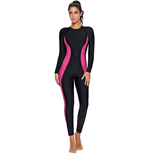 f86399bda21 Women's One Piece Rash Guard Zip Front, Full Body Cover Wetsuit, Sun  Protection Long Sleeve Dive Skin Surf Suit S-XXXL (XXL(US 18-20), Black  Pink)