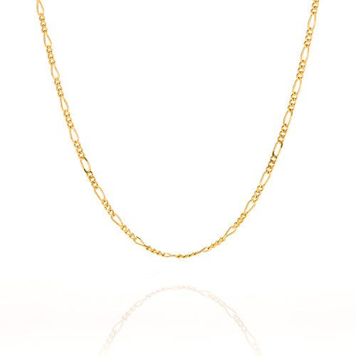 Lifetime Jewelry Figaro Chain 1.5MM, 24K Gold with Inlaid Bronze, Premium Fashion Jewelry, Pendant Necklace Made...