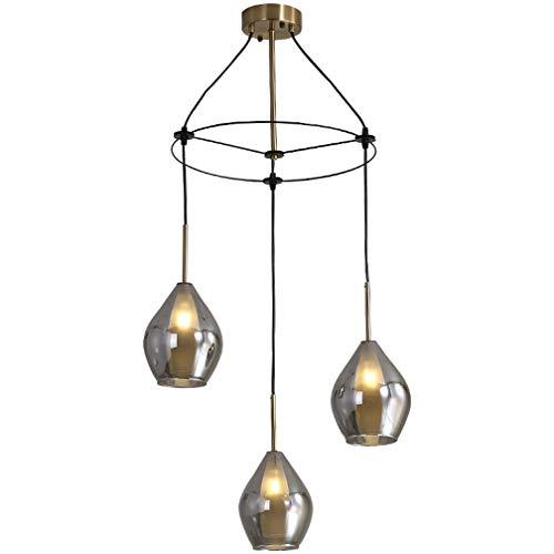 Lampara colgante de vidrio gris ahumado vintage, mesa de comedor Lampara colgante Diseno de laton Focos LED Colgantes de techo de luz Focos 3 llamas H99cm