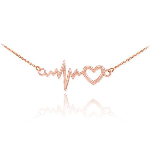 14k Rose Gold Lifeline Pulse Heartbeat Charm Open Heart Pendant Necklace, (Solid Gold Heart Pendant Charm)
