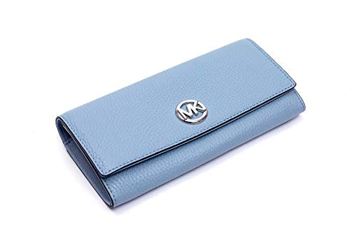 Michael Kors Fulton Flap Continental Carryall Clutch Wallet Purse in Pale Blue
