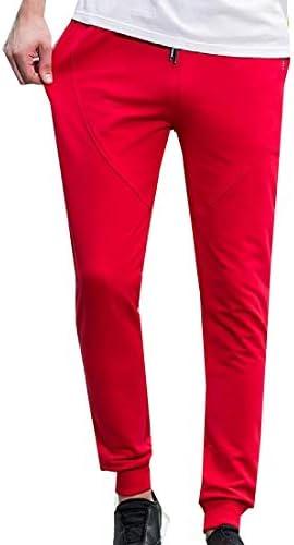 Romancly メンズカジュアルパンツテーパポケットドローストリング固体ジョガーパンツ