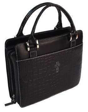 Bible Cover - Croc Embossed Purse Style-LRG-Blk by Christian Art Gift