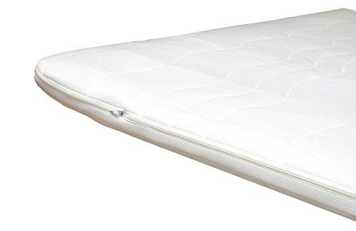 H3 Topper Matratzenauflage 140x200 Kaltschaum mit Bezug versteppt 7cm - Schlafen wie auf Wolken