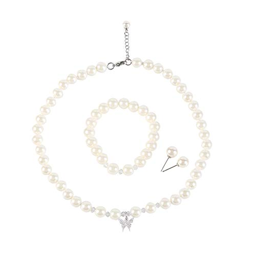LEILE Faux Crystal Glass Imitation Pearls Necklace Bracelet Earring Diamond Pendant Jewelry 3 Set for Mother Little Girl Kids (8mm White 14.5in - Glass Pendant Bracelet