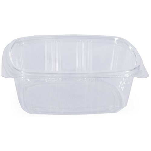 Simply Deliver 32 oz Hinged Lid Deli Container with Complete Air-Tight Seal, Crystal Clear PET, 200-Count