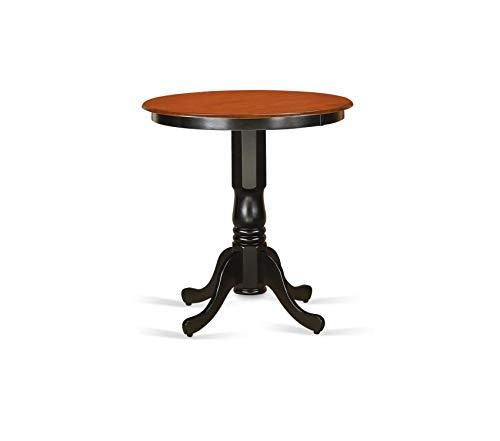 - Premium Eden Round Counter Height Table, Black/Cherry Finish