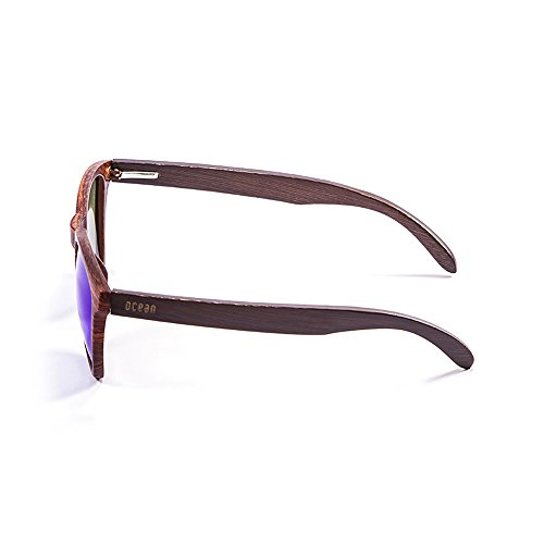 Ocean Sunglasses Sea Lunettes de Soleil Mixte Adulte, Brown Dark Frame/Wood Dark Arms/Revo Blue Lens