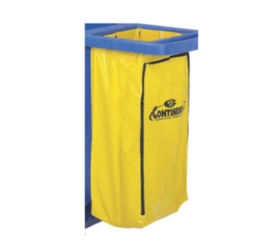 Continental 188YW Vinyl Zippered Bag, 25 gallon Capacity, Yellow, For Janitorial Carts (Case of 6)