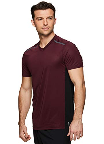 RBX Active Men's Colorblock V-Neck Performance Gym T-Shirt S-19 Red L