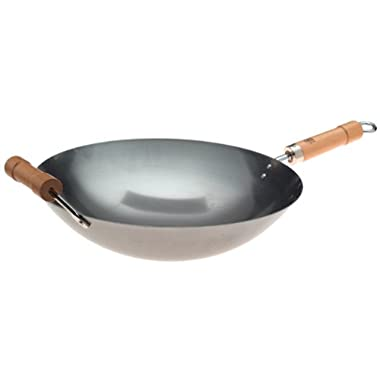 Joyce Chen 20-1140, Pro-Chef 14-Inch Round Bottom Wok with Wood Handles