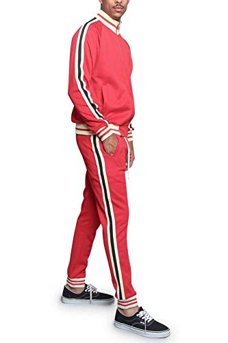 Victorious Men's G Track Suit Set ST5014-577 - Red - 2X-Large - I7A ()