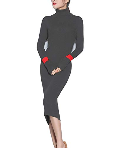 (VenuStar Womens Sweater Dress Cashmere Dresses Slim Fit Turtleneck Long Sleeve (Grey))