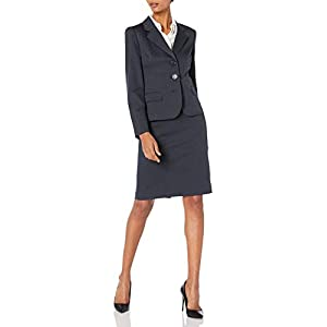 Le Suit Women's Three Button Navy Skirt Suit