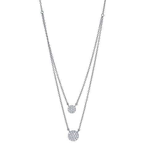 Sterling Silver Double Strand Pendant Necklace with CZ Pave Round Medallion Charm, Rhodium Plated 925 Silver, Adjustable Chain Length 16