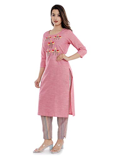 Sanganeri Kurti Womens Cotton Embroidred Kurta With Printed Pant Set (Pink) Discounts Junction
