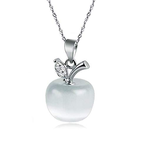 sephla 14k White Gold Plated Moonstone and Cubic Zirconia Apple Pendant Necklace for Women (White)
