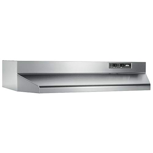 Broan-NuTone 402404 Convertible Range Hood Insert with Incandescent Light, Exhaust Fan for Under Cabinet, Stainless Steel, 6.5 Sones, 160 CFM, 24″