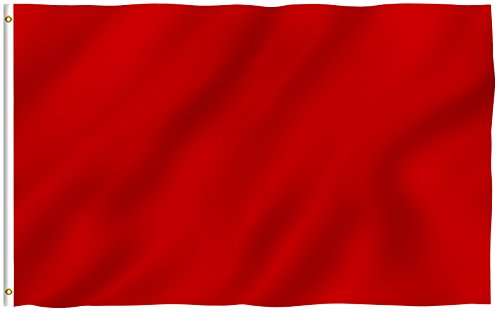 Red Nylon Blank (ANLEY [Fly Breeze] 3x5 Foot Solid Red Flag - Vivid Color and UV Fade Resistant - Canvas Header and Double Stitched - Plain Red Flags Polyester with Brass Grommets 3 X 5 Ft)