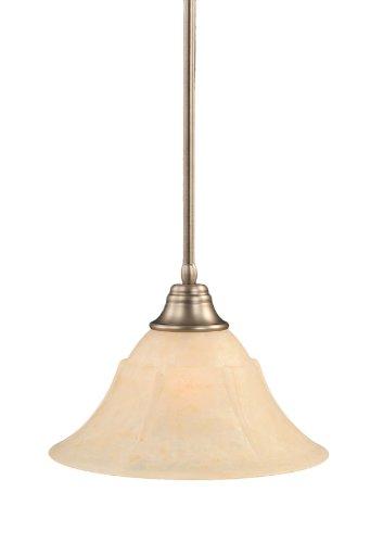 53313 Stem Pendant - Toltec Lighting 26-BN-53313 Stem Pendant Light Brushed Nickel Finish with Amber Marble Glass Shade, 14-Inch