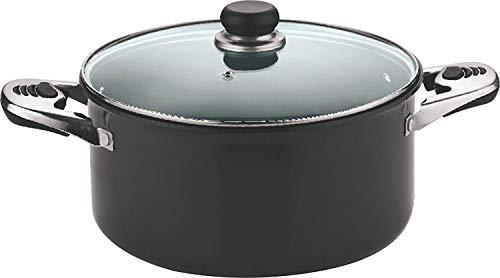 Vinod Hard Anodized Sauce Pot with Glass Lid  26 cm, 7 Ltr