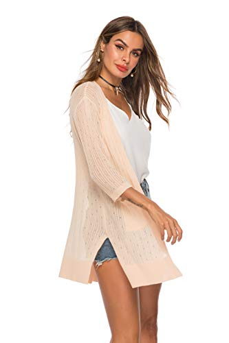 (LYHNMW Womens Casual Long Sleeve Lightweight Open Front Long Knited Cardigan with)