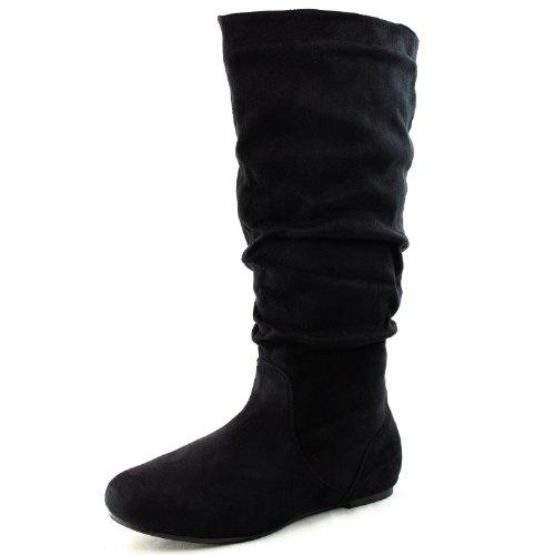 Amazon.com | Women's Round Toe Boots Mid Calf Knee High Flat Heel ...