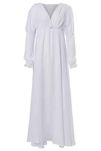 ValorSoul Renaissance Costumes Dress for Women Trumpet Sleeves Fancy Medieval Gothic Lace Up Dress (S, Solid White)