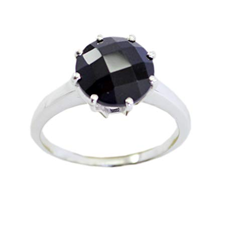 Supplies 925 Sterling Silver Excellent Genuine Black Ring, Black Onyx Black Gems Silver Ring from RIYO