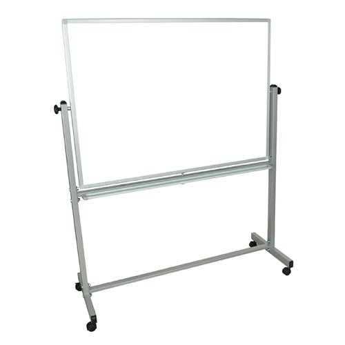 Mobile Magnetic Whiteboard 48''W x 36''H Silver Frame by Luxor