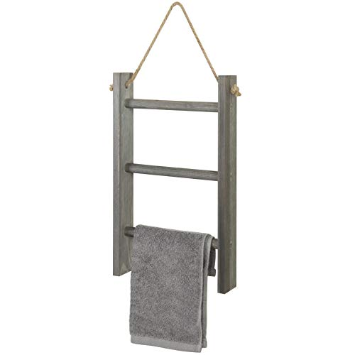 MyGift 3-Tier Rustic Wood Wall-Hanging Towel Ladder with Rope, Gray (For Ladder Bathroom Towels)