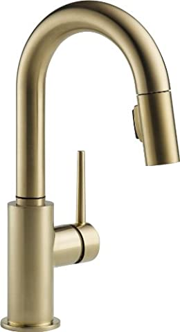 Delta 9959-CZ-DST Single Handle Pull-Down Bar/Prep Faucet, Champagne Bronze (Pulldown Faucet Delta)