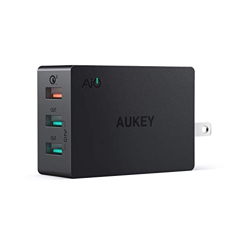 AUKEY 3-Port USB Wall Charger 43.5W with Quick Charge 3.0 & Foldable Plug, Compatible with Samsung Galaxy S8 / S8+ / Note8, LG G6 / V30, iPhone XS / XS Max / XR and More