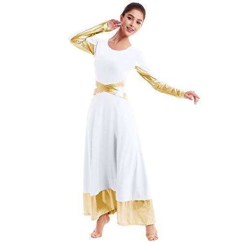 Metallic Gold Color Block Praise Liturgical Lyrical Dancewear for Womens Adult Robe Cross Dance Loose Fit Full Length Dress Long Sleeve Costume White-Gold Cross Cross XL