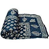 Aadinath Collection Gold Print Jaipuri Light Weight Dark Blue Cotton Single Bed Quilt ,Rajai,Razai (Dark Blue, Single Bed Quilt)