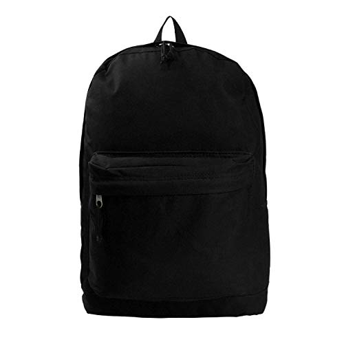 Classic Bookbag Basic Backpack Simple School Book Bag Casual Student Daily Daypack 18 Inch with Curved Shoulder Straps Black