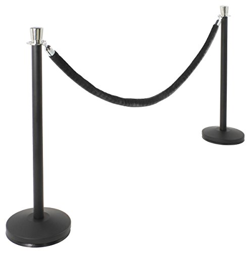 Weighted Base Stand Stanchion - Set of 2 Matte Black Stanchion Posts with 6.5' Black Velvet Rope, Chrome Finish Tulip Tops