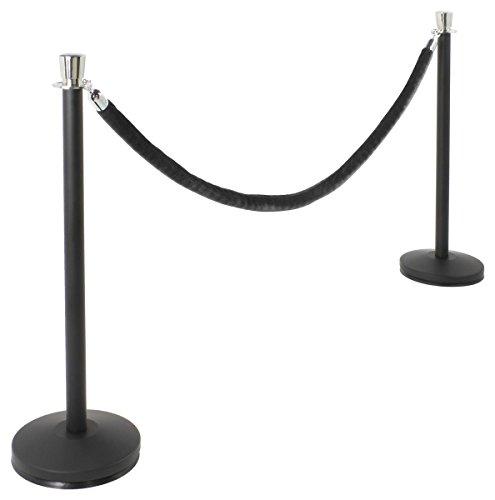 Set of 2 Matte Black Stanchion Posts with 6.5' Black Velvet Rope, Chrome Finish Tulip Tops