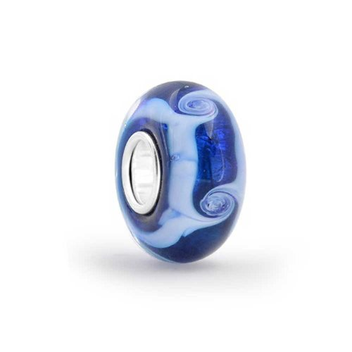 Wave Lampwork Bead (Bling Jewelry Blue Ocean Wave Murano glass Lampwork Bead Charm .925 Sterling Silver)