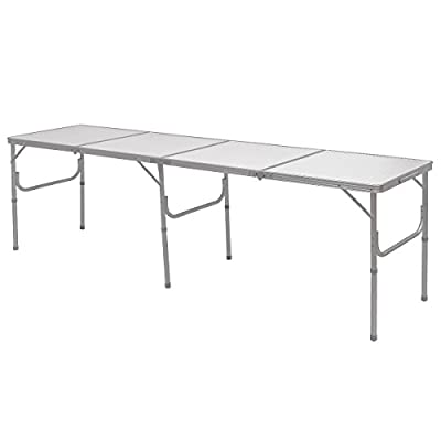 Giantex 8FT Portable Aluminum Folding Table with Carrying Handle Picnic Indoor Outdoor Camping