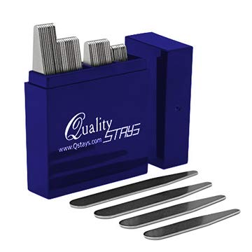 (36 Metal Collar Stays in Clear Plastic Box, Order the Sizes You Need. By Smooth Stays (18 - 2.5