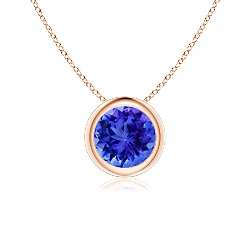 Mother's Day Offer - Bezel Set Round Tanzanite Solitaire Pendant in 14K Rose Gold (6mm - Tanzanite Set Pendant Round