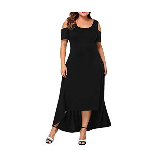 (Tantisy ♣↭♣ Women's Summer Cold Shoulder Floral Print Elegant Maxi Long Dress Flowy Swing Party Dress Plus Size L-5XL Black)