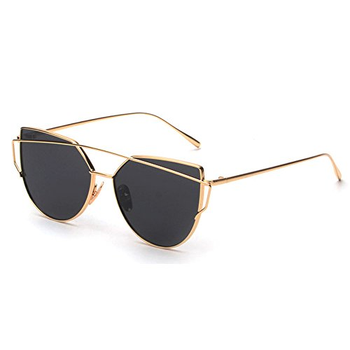 - Women's Metal Frame Sunglasses, Twin-Beams Oversized Aviator Vintage Eyewear, Classic Cat Eye Glasses (Gold)