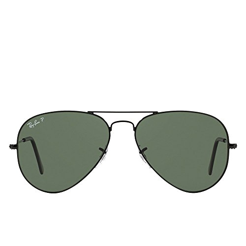 Ray-Ban Mens Original Aviator Sunglasses (RB3025) Black/Green Metal - Polarized - 58mm