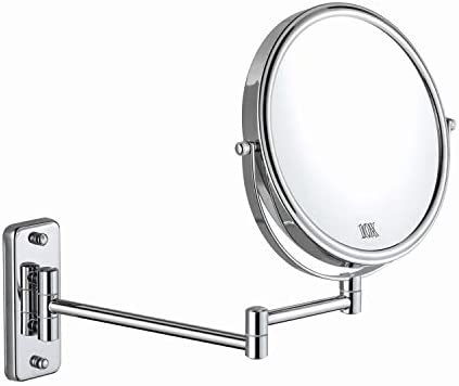 DECLUTTR 8 Inch Wall Mounted Magnifying Mirror with 10x Magnification, Double Sided Vanity Makeup Mirror for Bathroom, Chrome Finished