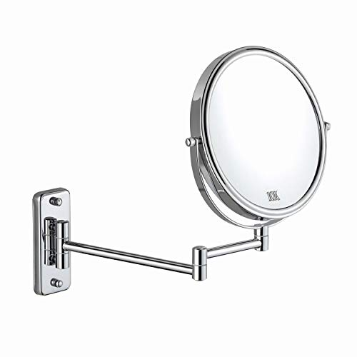 (DECLUTTR 8'' Wall Mounted Makeup Mirror - 10x Magnifying Vanity Mirror Two-Sided Swivel Extension Bathroom Shaving Mirror, Polished Chrome)