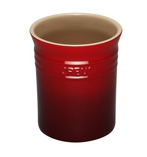 Le Creuset Utensil Crock (Le Creuset 6 x 4.75 Inch Stoneware Straight-sided Cherry Red Utensil Crock)