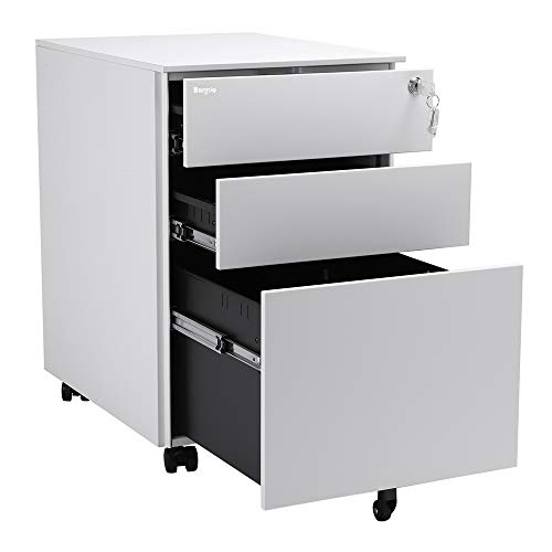Bonnlo 3 Drawer Metal Mobile File Cabinet Rolling Steel Office Cabinet with Lock, Fully Assembled, White