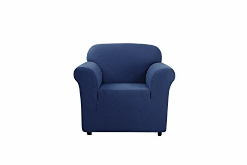 SureFit SF45924 1-Piece Stretch Delicate Leaf Slipcover, Chair , Storm Blue